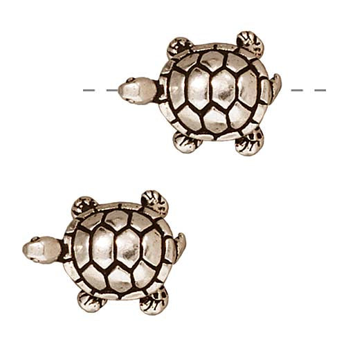 TierraCast Fine Silver Plated Pewter Turtle Beads 15mm (2)