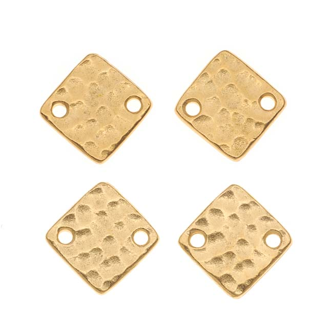 TierraCast 22K Gold Plated Pewter 12mm Hammered Square Connectors (4)