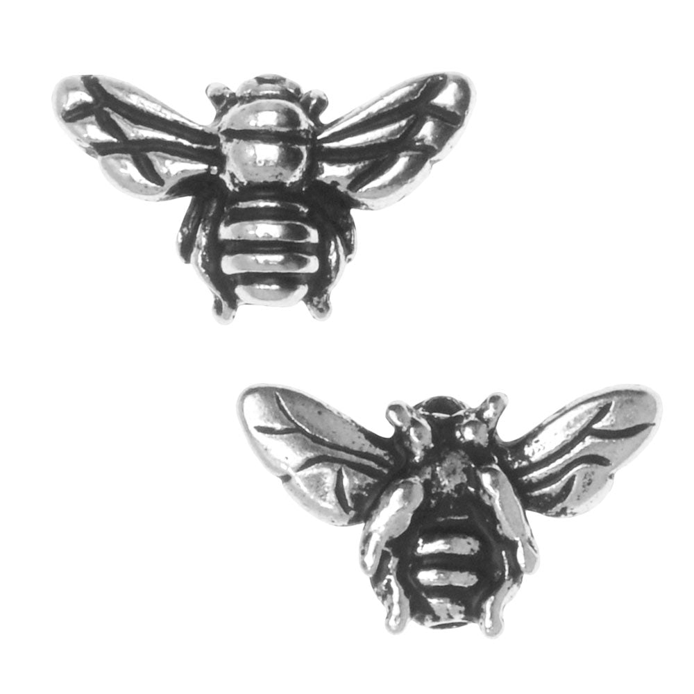 Metal Bead, Honey Bee 9.5mm, 2 Pieces, Antiqued Silver Plated, By TierraCast