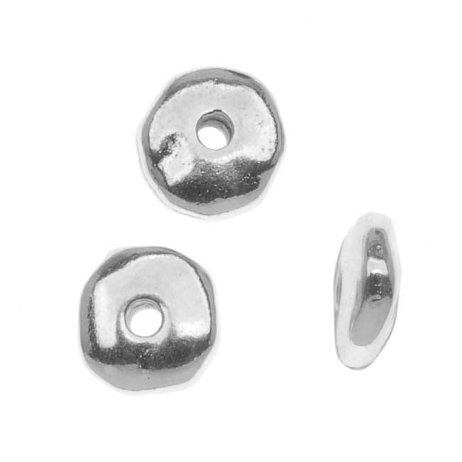 TierraCast Real Rhodium Plated Pewter Nugget Heishe Spacer Beads 6mm (10)