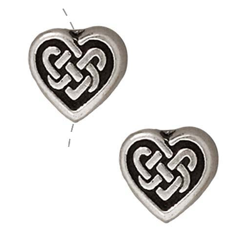 TierraCast Fine Silver Plated Pewter Heart Celtic Knot Beads 8.9mm (2)
