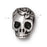 TierraCast Fine Silver Plated Pewter Skull With Roses Side Drill Spacer Bead 10mm (1)