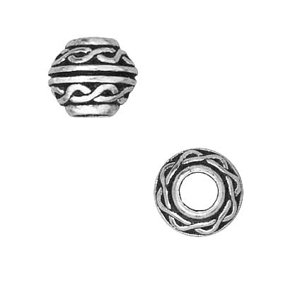 TierraCast Fine Silver Plated Pewter Celtic Large Hole Spacer Beads 8mm (2)