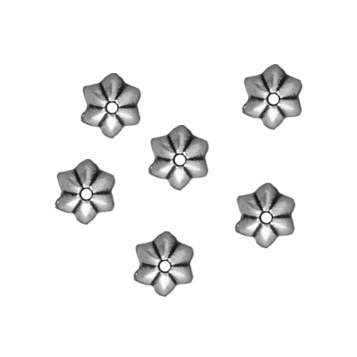 TierraCast Antiqued Silver Plated Pewter Talavera Star Bead Caps 5mm (x 6)