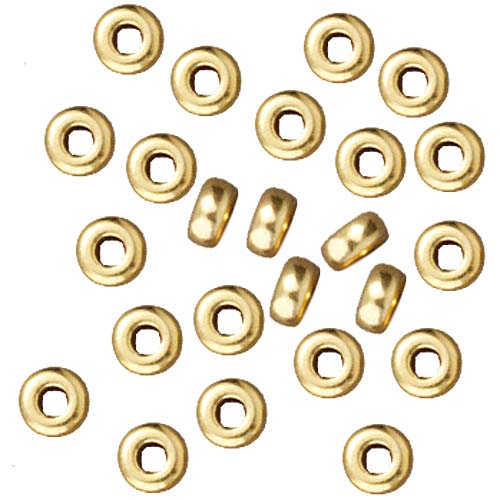 TierraCast Bright 22K Gold Plated Lead-Free Pewter Disk Heishi Spacer Beads 3mm (50)