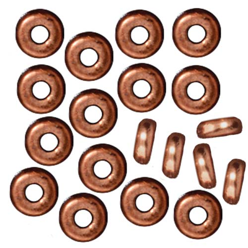 TierraCast Copper Plated Lead-Free Pewter Disk Heishi Spacer Beads 4mm (50)
