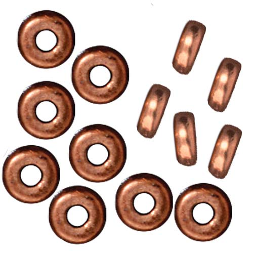 TierraCast Copper Plated Lead-Free Pewter Disk Heishi Spacer Beads 5mm (20)
