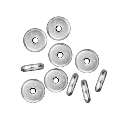 TierraCast Bright Silver Plated Lead-Free Pewter Disk Heishi Spacer Beads 6mm (10)
