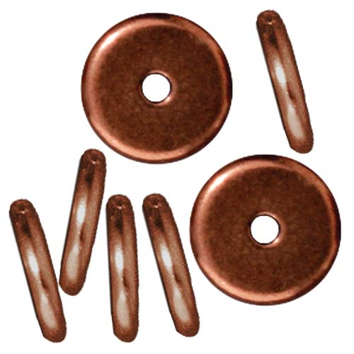 TierraCast Copper Plated Lead-Free Pewter Disk Heishi Spacer Beads 8mm (10)