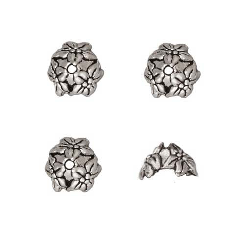 TierraCast Antiqued Silver Plated Lead-Free Pewter Jasmine Bead Caps 7mm (4)