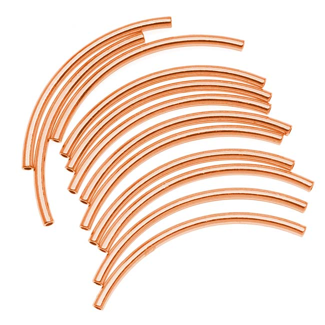 Copper Plated Curved Noodle Tube Beads 2mm x 38mm (12)