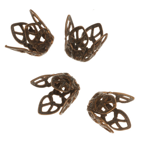 Vintaj Natural Brass Ornate 12mm Filigree Bead Caps (4)