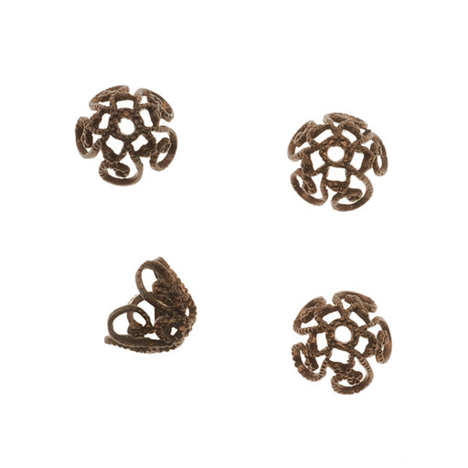 Vintaj Natural Brass Ornate Scroll Bead Caps 7.5mm (4)