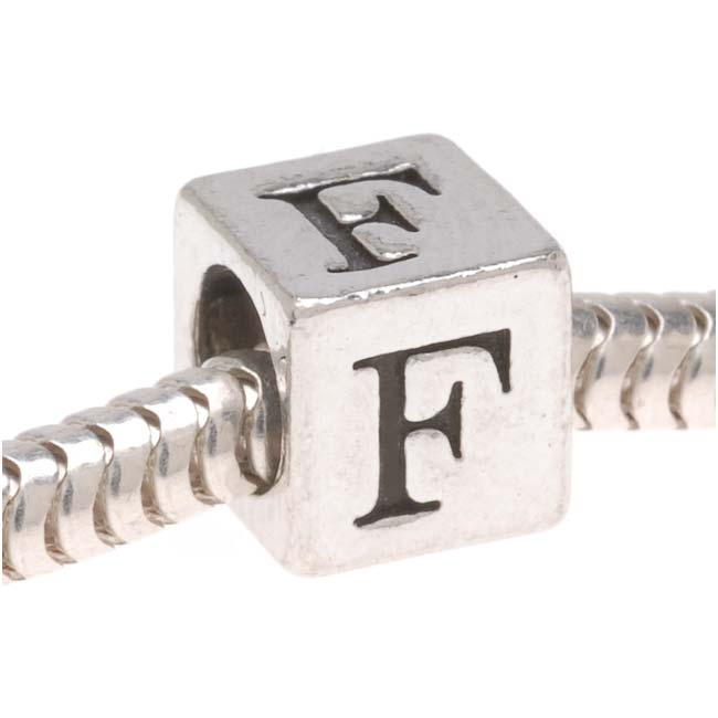 Lead-Free Pewter European Style Large Hole Alphabet Bead, Letter 'F' 6.4mm, 1 Piece, Antiqued Silver