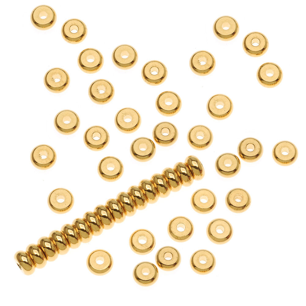 22K Gold Plated Heishe Spacers 4mm Beads (100)