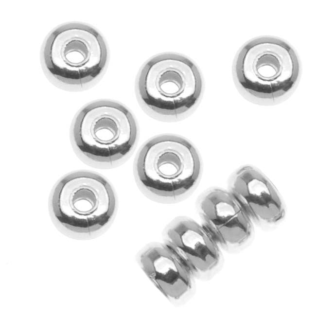 Silver Plated Thick Heishe Spacers Beads 4.5mm x 2.5mm (144)