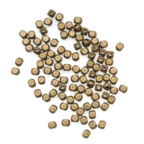 Antiqued Brass 4mm Rounded Rectangle Beads (100)
