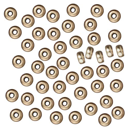 TierraCast Brass Oxide Finish Lead-Free Pewter Disk Heishi Spacer Beads 3mm (50)