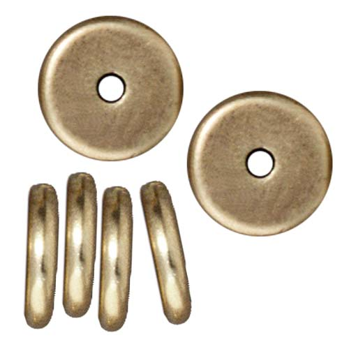TierraCast Brass Oxide Finish Lead-Free Pewter Disk Heishi Spacer Beads 8mm (10)