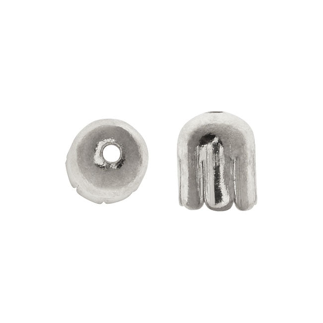 Capsule Bead Caps, with Flaps 7x6mm, 25 Pieces, Silver Plated