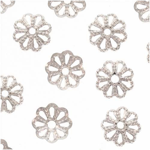 Bright Silver Plated Open Petal Flower Bead Caps 6mm (50)