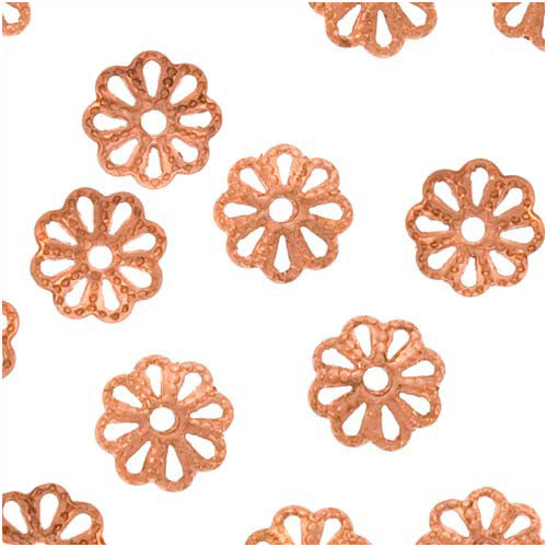 Genuine Copper Open Petal Flower Bead Caps 6mm (50)
