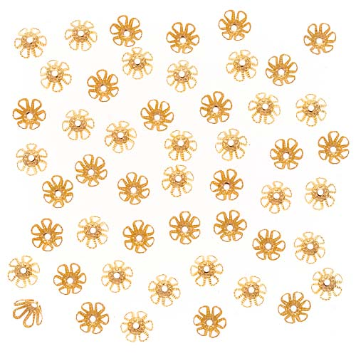 22K Gold Plated Cone Flower Bead Caps 6mm x 3.5mm (50)