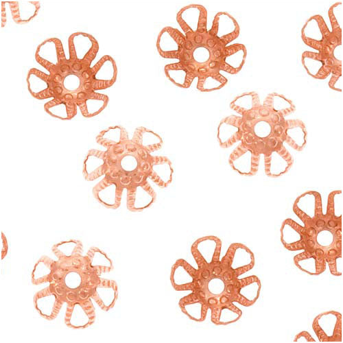 Genuine Copper Cone Flower Bead Caps 6mm x 3.5mm (50)