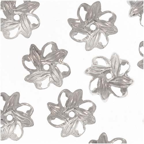 Bright Silver Plated Open Pinwheel Bead Caps 9mm (50)