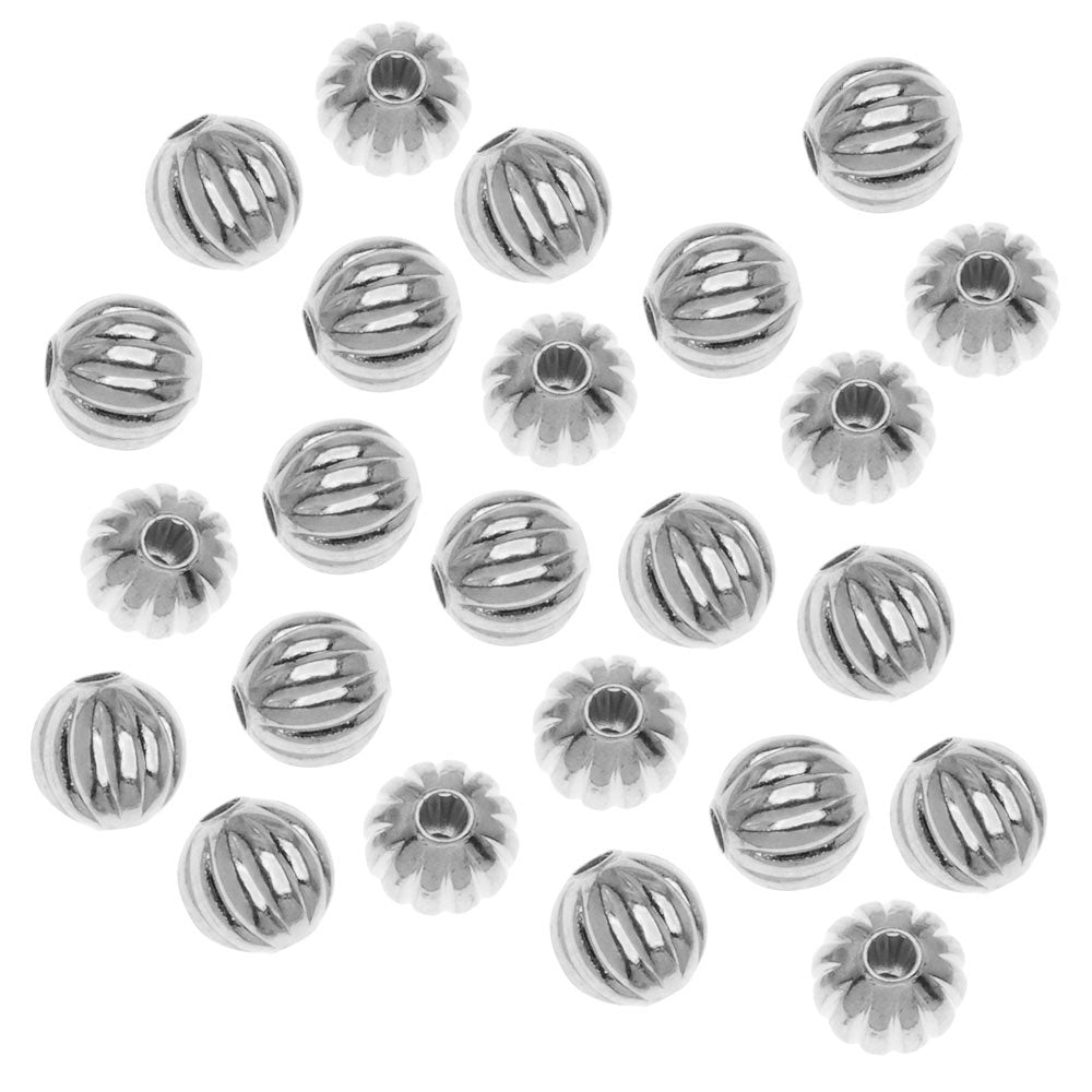 Silver Plated Fluted Round Metal Beads 6mm (50)
