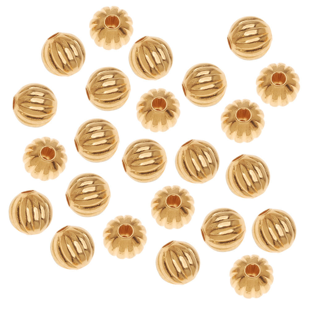 22K Gold Plated Fluted Round Metal Beads 6mm (50)