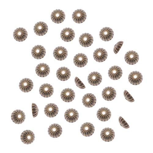 Antiqued Brass Small Corrugated Bead Caps 5mm (50)