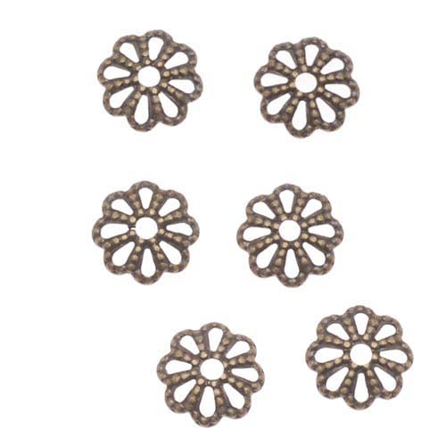 Antiqued Brass Openwork Beaded Daisy Bead Caps 1.3mm x 6mm (50)