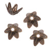 Antiqued Brass Ornate Pointed 6-Petal Bead Caps 7mm (50)