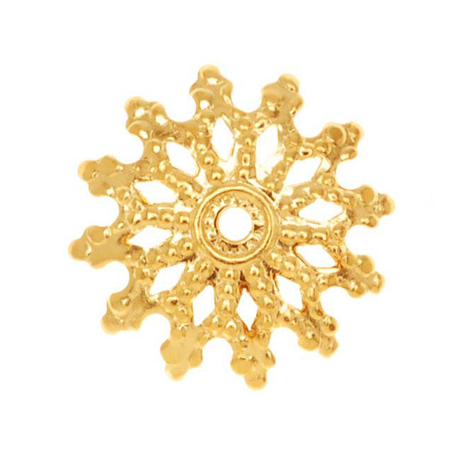 22K Gold Plated Ornate Bead Cap Decorative Washer 1.5x12mm (50)