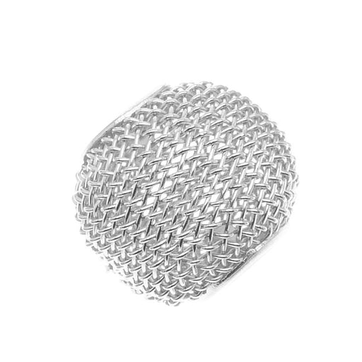Silver Tone Mesh Wire Large Hole Bead - 13x16mm (6)