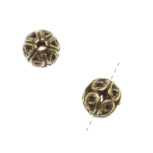 Antiqued Brass Round Ornate Filigree Spacers Beads 6mm (2)