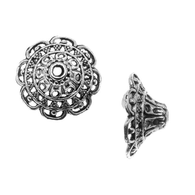 Lead-Free Pewter Bead Caps & Cones, Openwork Bali Design 18mm, 2 Pieces, Antiqued Silver