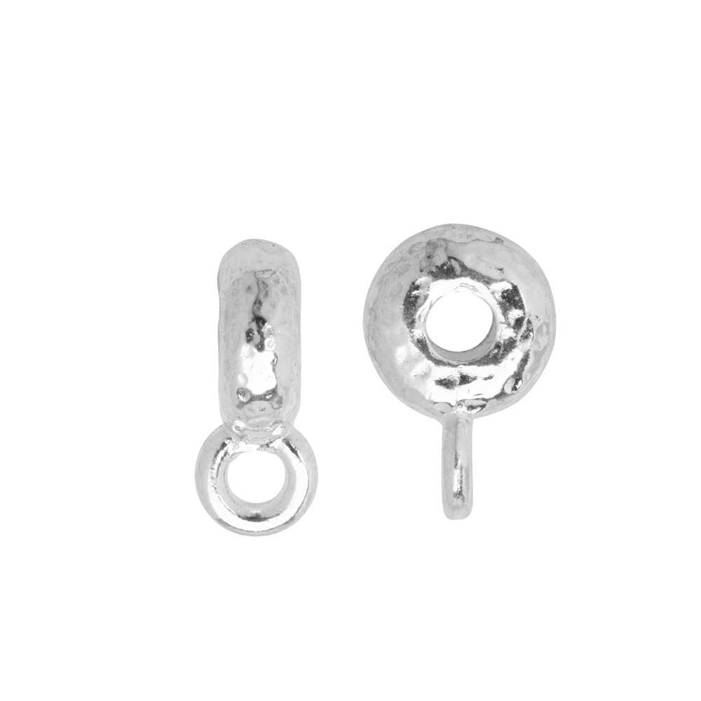 TierraCast Spacer Bail, Hammered with Loop 3x12mm, 2 Pieces, Bright Rhodium Plated