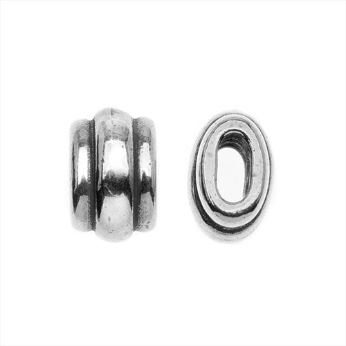 TierraCast Antiqued Silver Plated Lead-Free Pewter Deco Barrel Slider Bead 10mm - Pack of 2