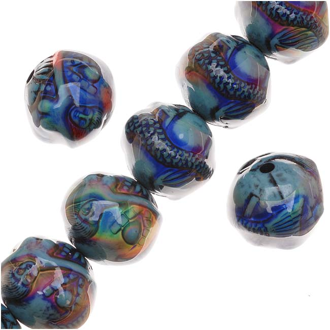Mirage Color Changing Mood Beads - Mermaid's Tale Round Spacer Beads 16.5mm (2)