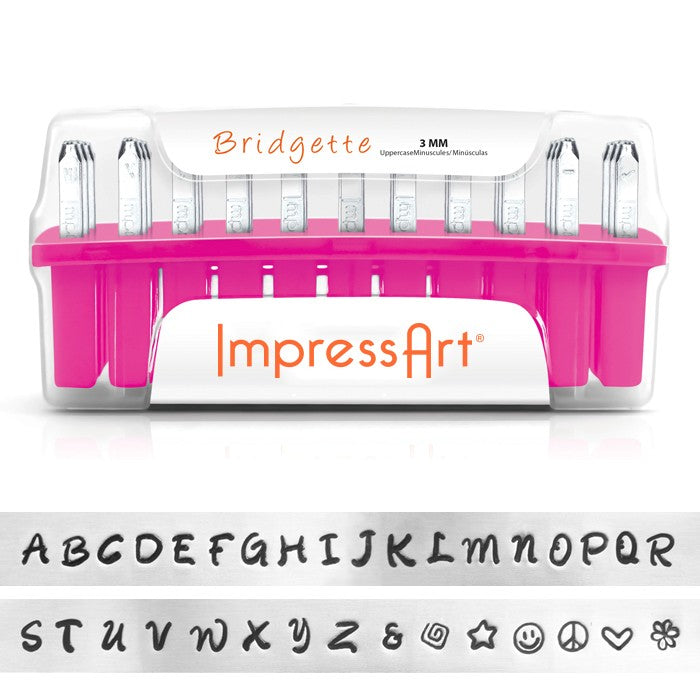ImpressArt 33-Piece Deluxe Uppercase Alphabet Stamps 'Bridgette' 1/8 Inch (3mm) - 1 Set