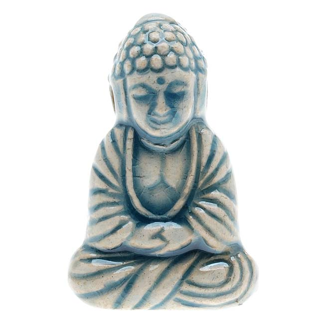 High Fire Ceramic Bead - Tibet Sitting Buddha 16x23mm (1)