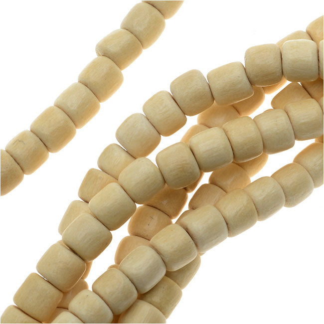 Pukalet Wood Beads, Dyed Round 4x5mm, 100 Pieces, Natural Lacquer