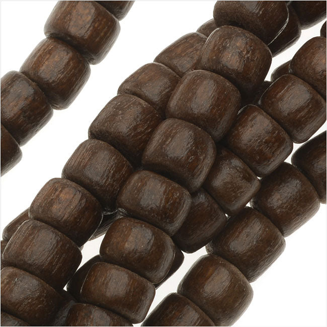 Pukalet Wood Beads, Dyed Round 4x5mm, 100 Pieces, Robles Brown Lacquer