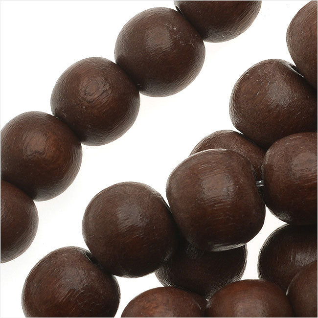 Pukalet Wood Beads, Dyed Smooth Round 8mm, 50 Pieces, Robles Brown Lacquer