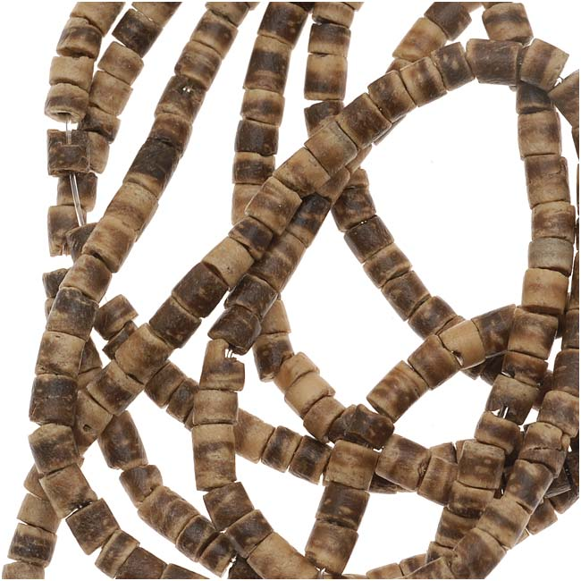 Brown And Tan Wood Coconut Rondelle Beads - 3mm Wide - 23 Inch Strand