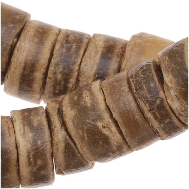 Brown And Tan Wood Coconut Shell Rondelle Beads - 7-8mm Wide - 23 Inch Strand