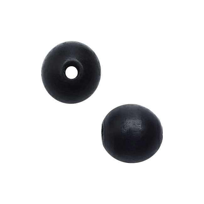 Smooth Wood Beads, Round with 10mm Diameter, 36 Pieces, Black