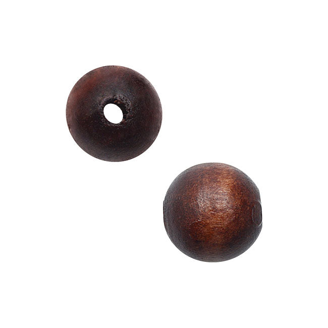 Smooth Wood Beads, Round with 10mm Diameter, 36 Pieces, Dark Brown